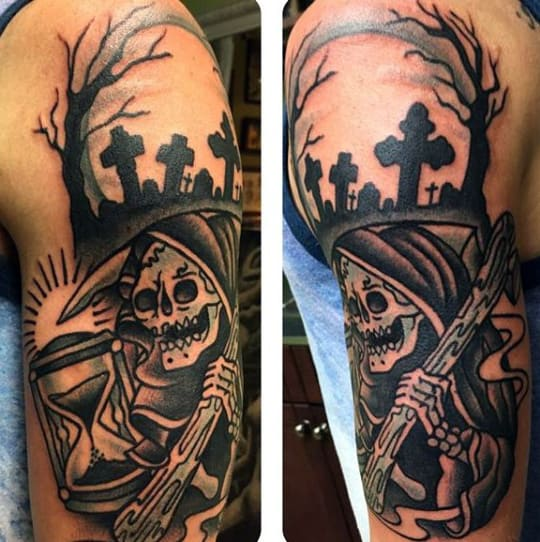 Grim Reaper Graveyard Tattoo Inspiration For Men