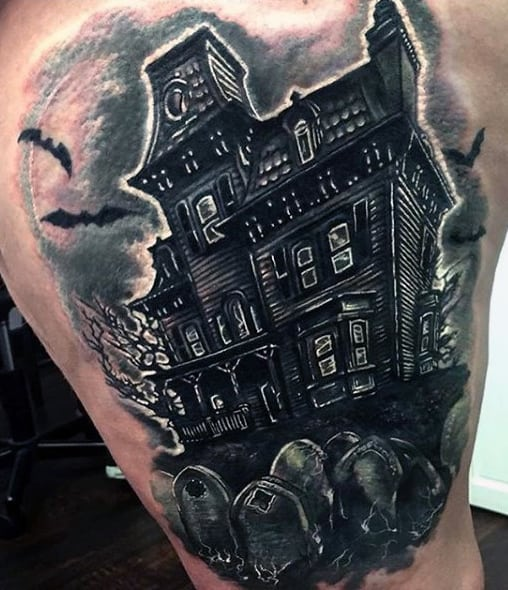Graveyard Tattoo On Man