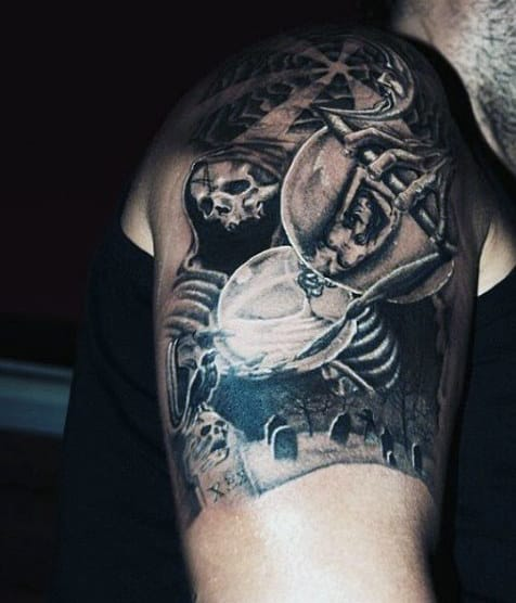 Graveyard Tattoo With Tombstones For Men