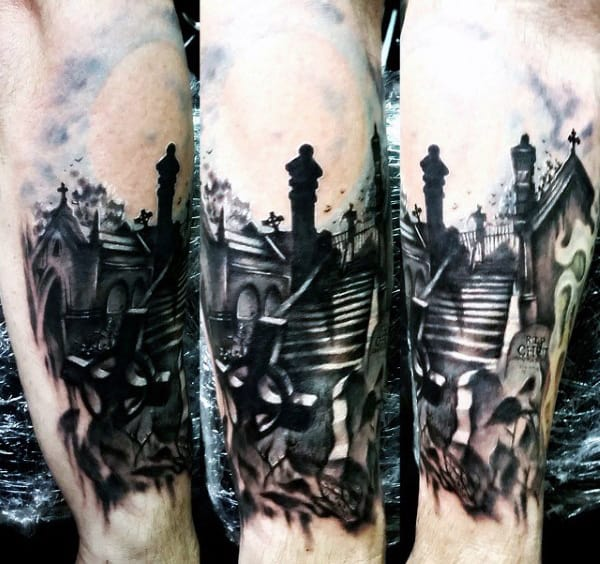 Graveyard Tattoos Designs For Men