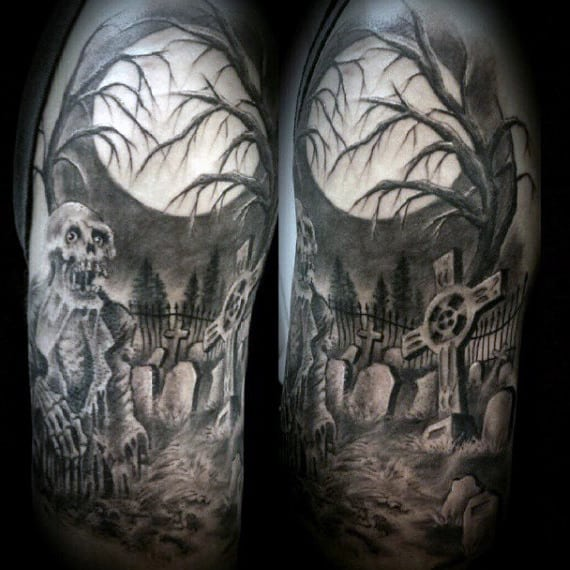 Graveyard Scene Tattoos 40 Tattoo Designs For Men Earthy