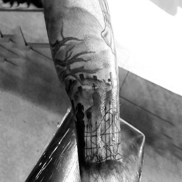 Graveyard Tombstone Scene Sleeve Tattoo For Men On Forearm