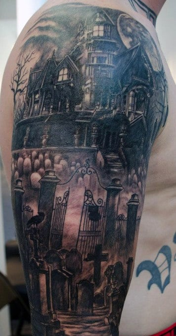 Graveyard With Ghost Tattoo For Men Half Sleeve