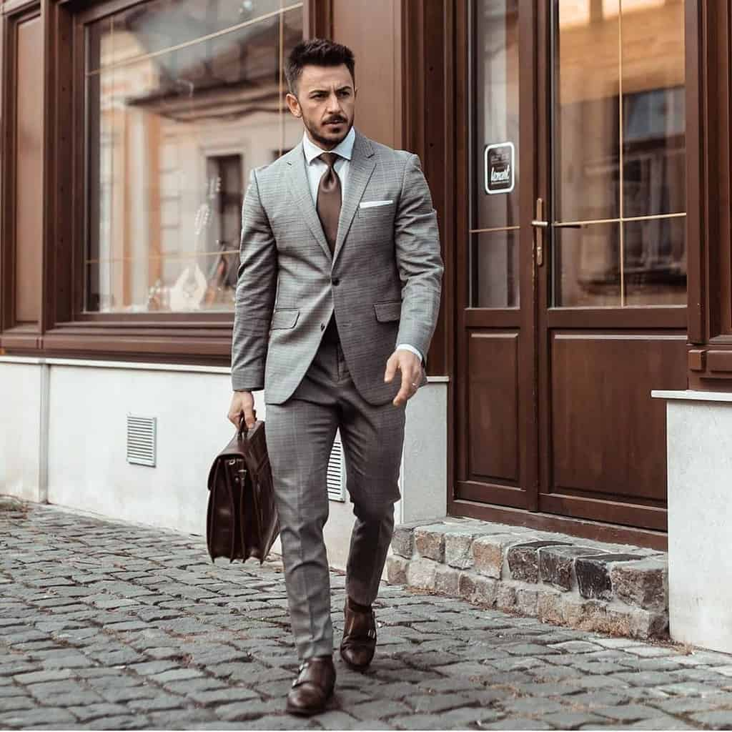 Gray Checkered Men Wear Style