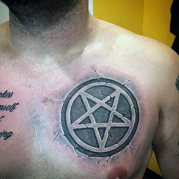 Gray Cracking Pentagram Tattoo Mens Chest
