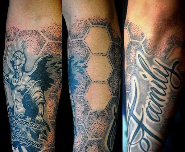 Gray Dotted Hexagonal Family Tattoo Mens Forearms