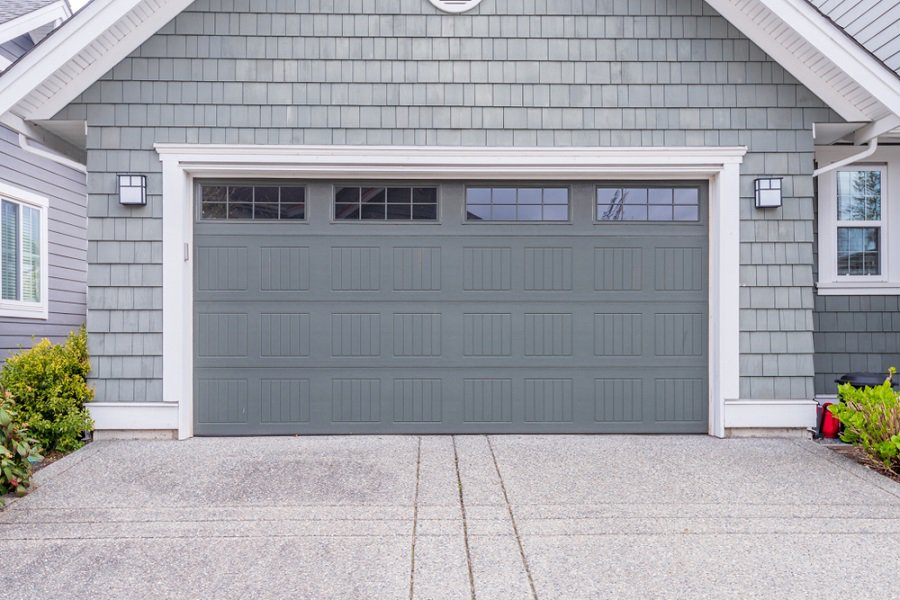 Horizontal Natrual Wood Rustic Garage Door Ideas With White Brick House