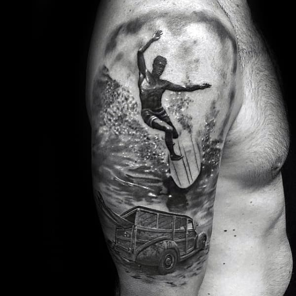 Gray Jeep And Man On Surf Board Tattoo Male Arms
