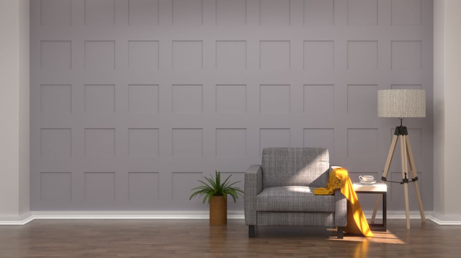 Gray Mid Century Modern Living Room