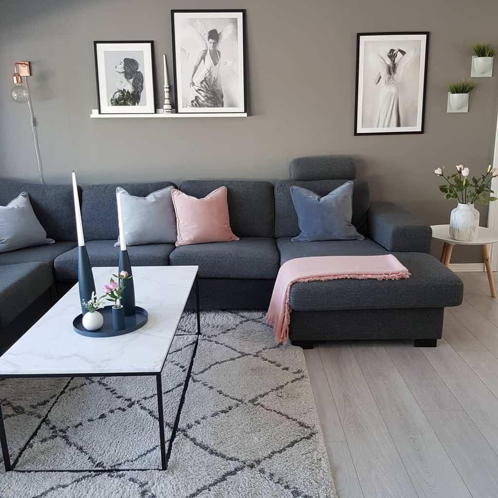 Gray Minimalist Living Room Kristingronas