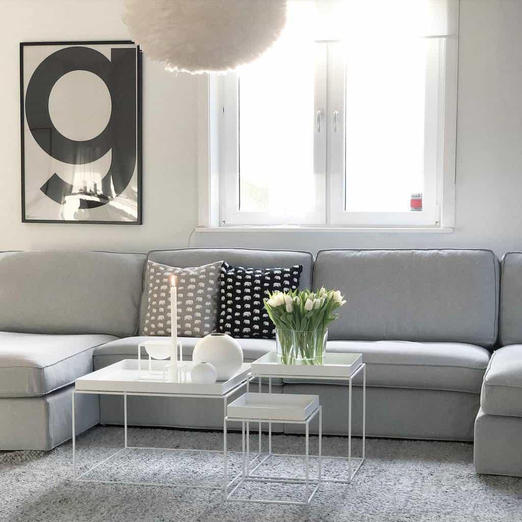 Gray Minimalist Living Room Olofsgatan Tina