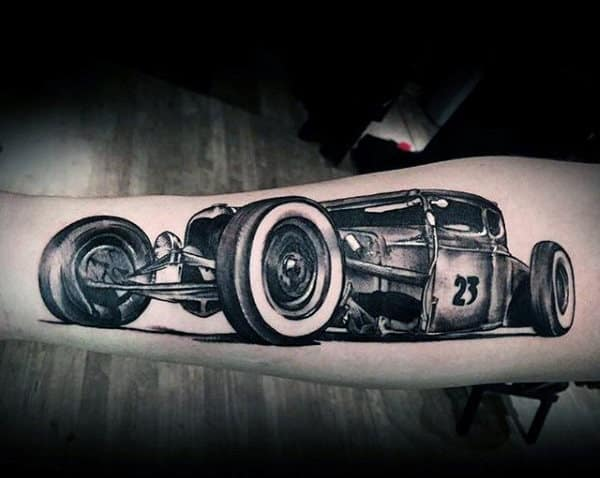 Gray Racing Car Hot Rod Tattoo Male Forearms
