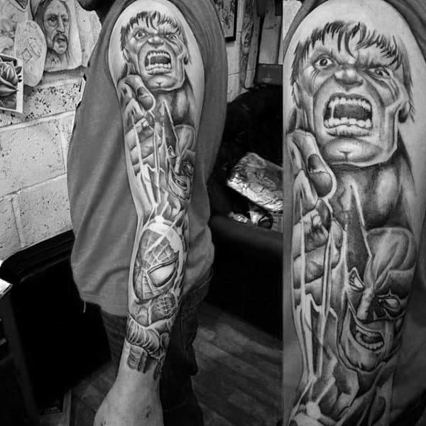 Gray Spiderman Tattoo Mens Full Sleeves