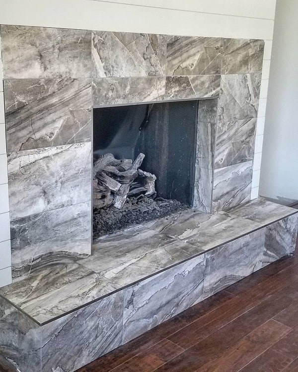 Gray Tile Fireplace Surround Compton Tile