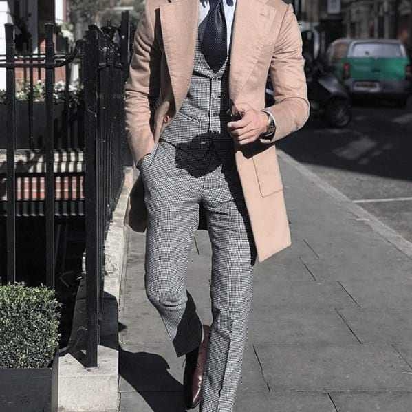 Great Charcoal Grey Suit Brown Shoes Tan Coat Styles For Men