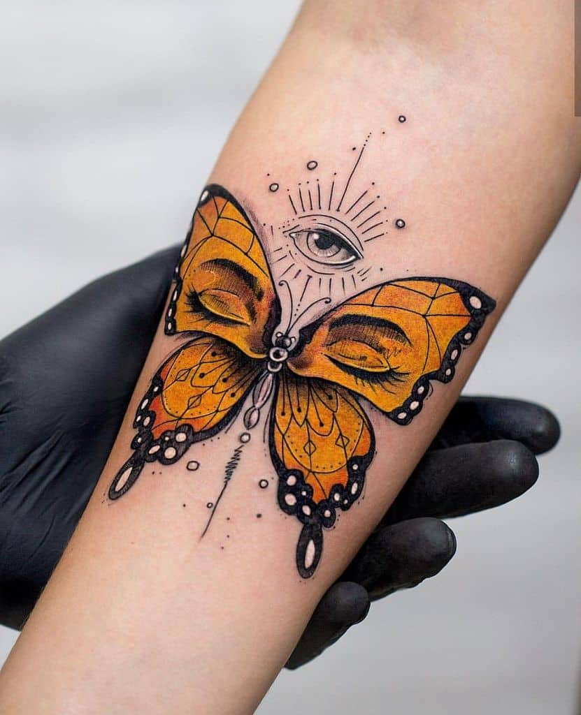 Great Flower And Butterfly Tattoo