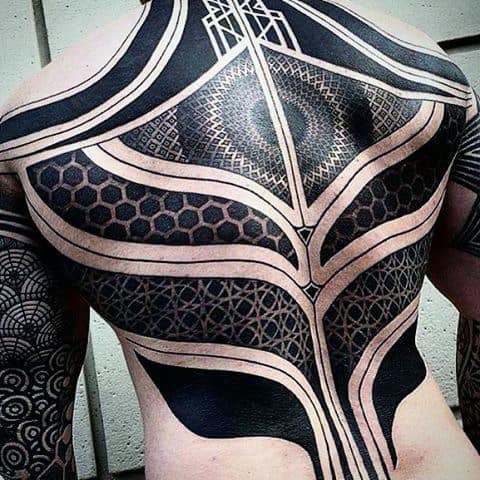 Great Guys Blackwork Negative Space Pattern Full Back Tattoo Ideas