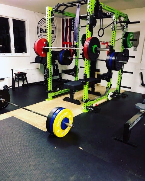 Great Interior Design Ideas For Garage Gym Black And Green