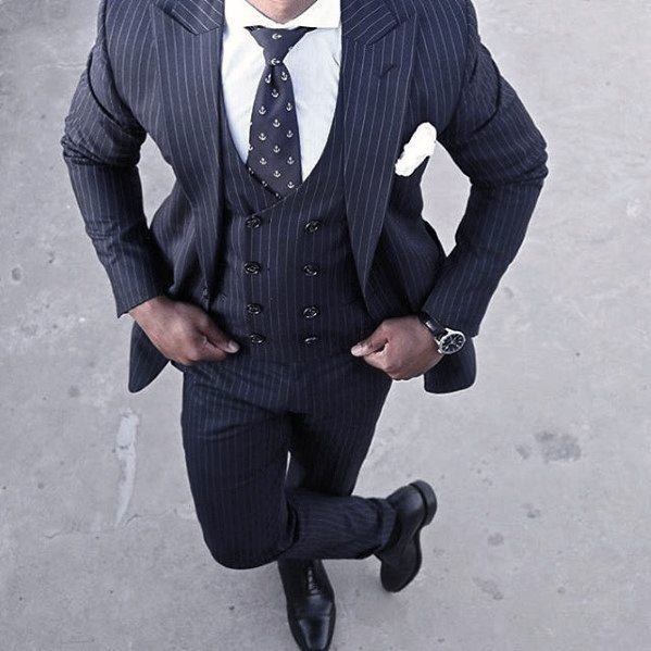 Great Navy Blue Pinestripe Suit Black Shoes Styles For Men