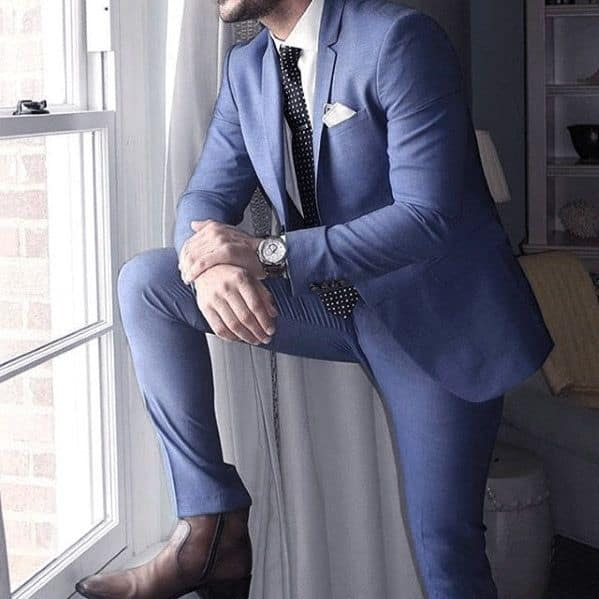 Great Navy Blue Suit Brown Shoes Styles For Men