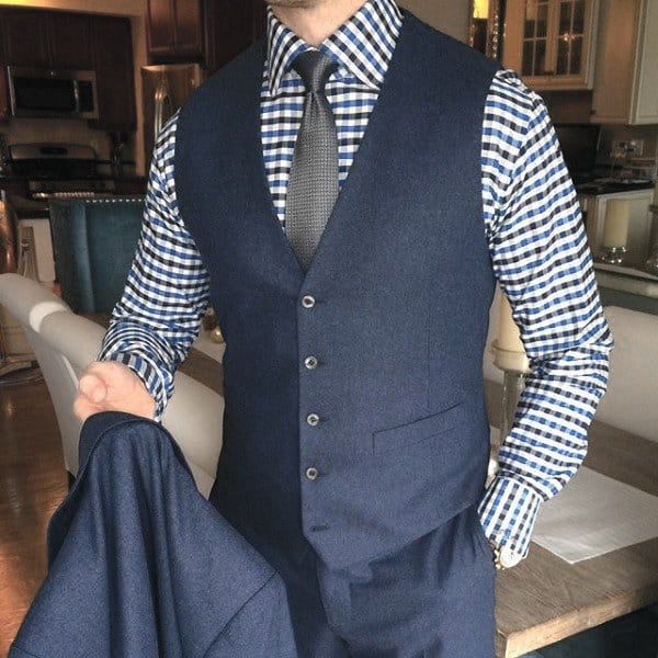 Great Navy Blue Suit Styles For Men Checkered Shirt With Grey Tie