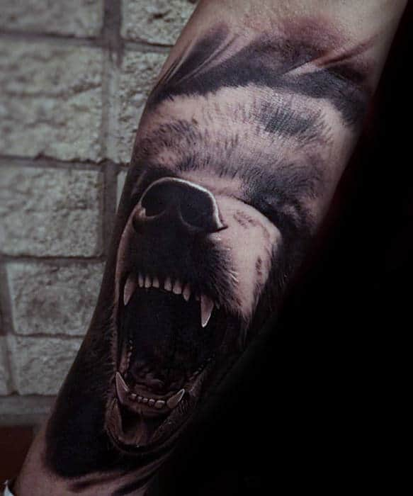 Great Roaring Bear Mens 3d Inner Forearm Sleeve Tattoo Ideas