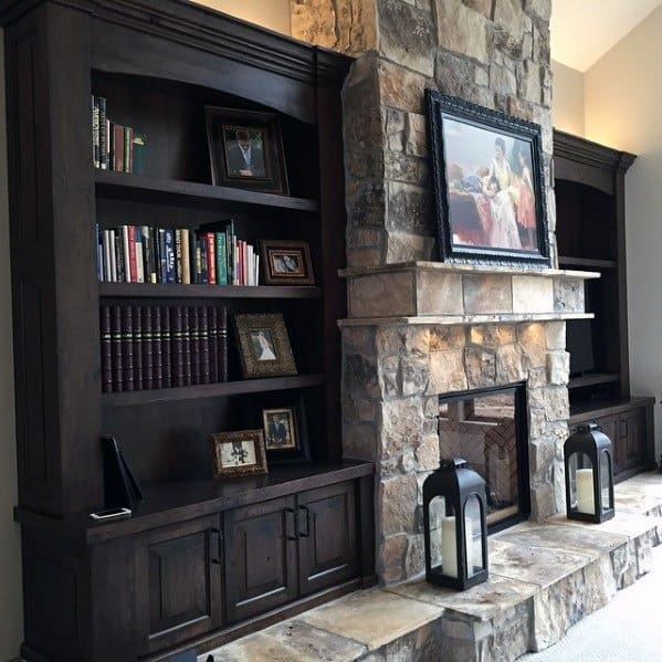 Great Room Built In Bookcase Idea Inspiration With Stone Fireplace