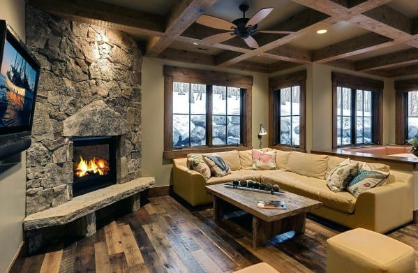 Great Room Cabin Coffered Ceiling Ideas