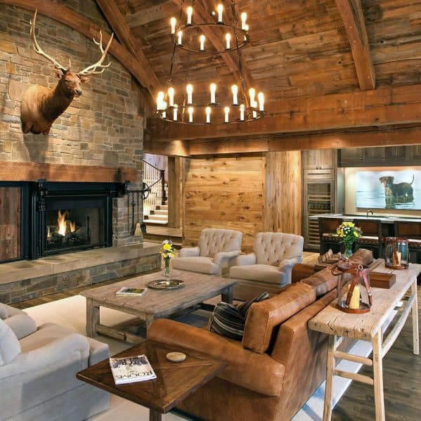 Rustic Home Bar Ideas: Top 50 Best Rustic Ceiling Ideas