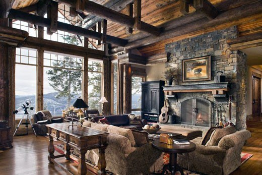 Great Room Log Cabin Interior Design