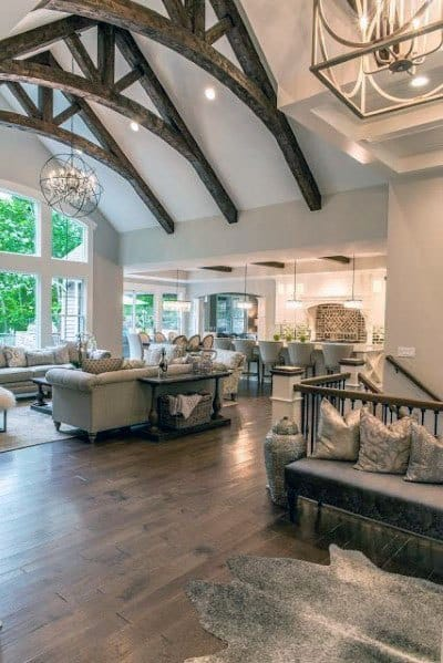 Great Room Vaulted Ceiling Ideas With Rustic Faux Wood Beams