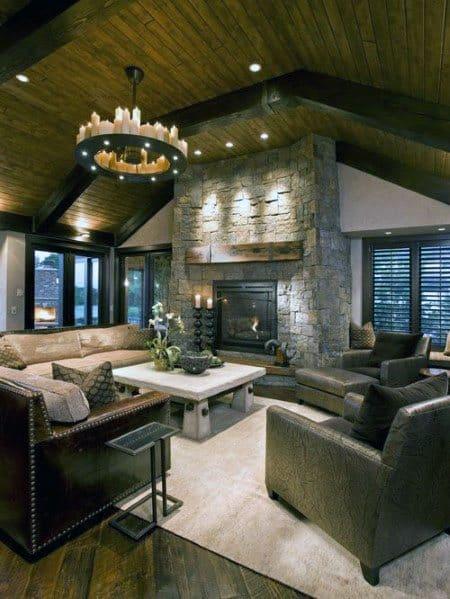 Great Room Vaulted Wood Ceiling Ideas