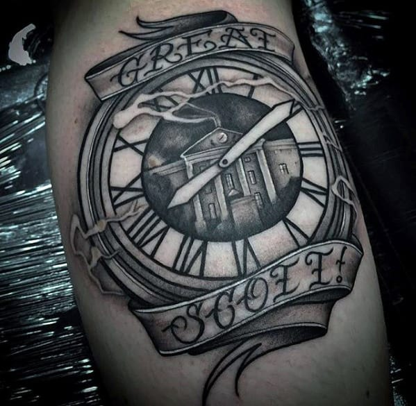 Great Scott Ribbon Clock Male Back To The Future Arm Tattoos