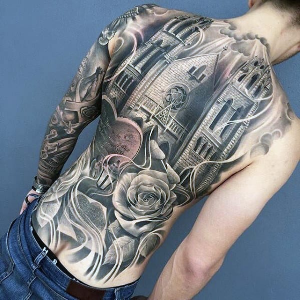 Great Shaded Realsitic Castle Mens Full Back Tattoo Ideas