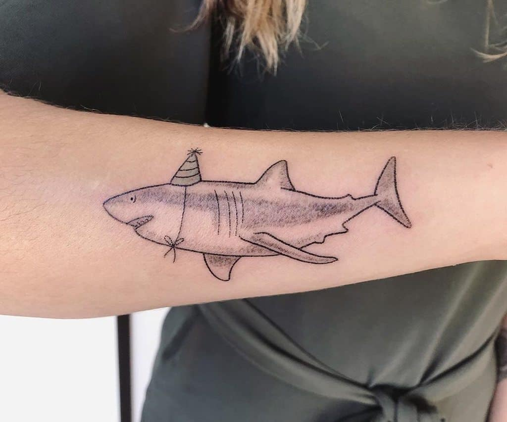 Great White Shark Dot Work Illustrative Fine Line Tattoo