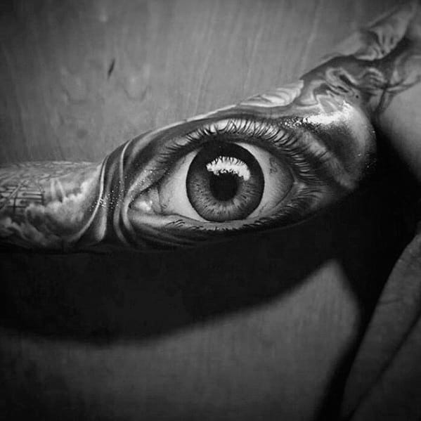 Greatest Guys Inner Arm Bicep 3d Eye Tattoo Designs