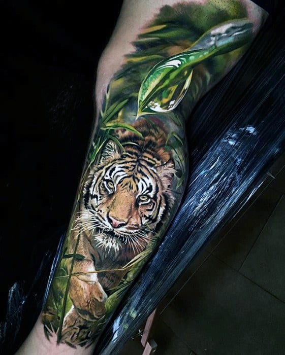 Greatest Tattoo Tiger Designs For Men On Leg