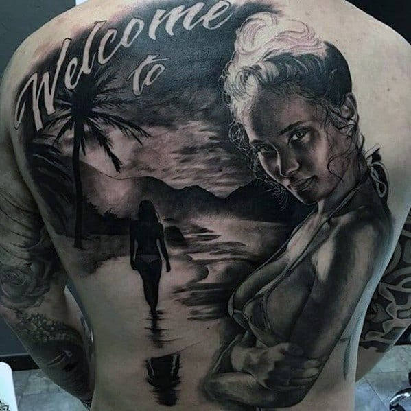 Greatest Tattoos Guys Paradise Themed Full Back