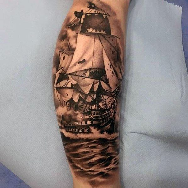 Greatest Tattoos Male Sailing Ship Design