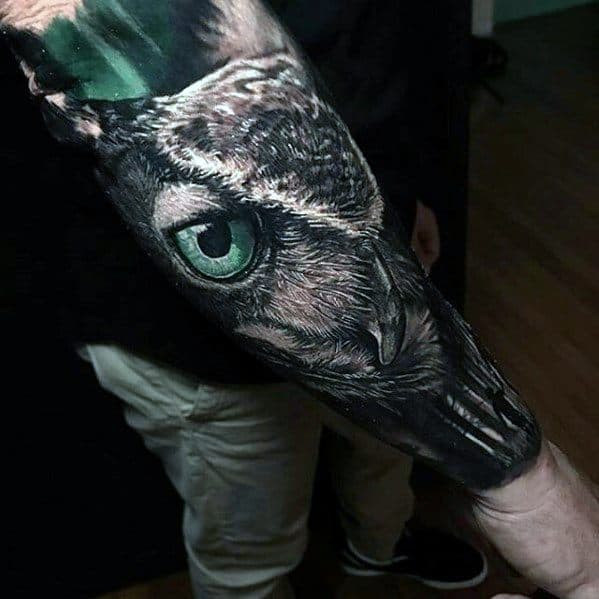 Greatest Tattoos Men Owl Forearm Sleeve