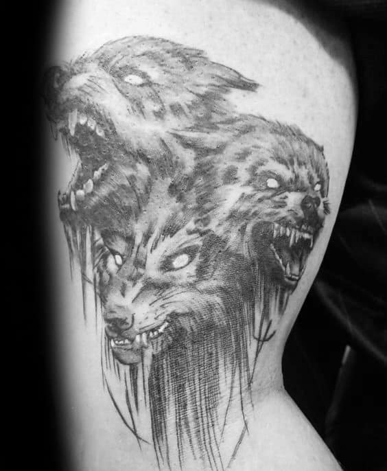 Greek Cerberus Guys Shaded Black And Grey Ink Upper Arm Tattoos