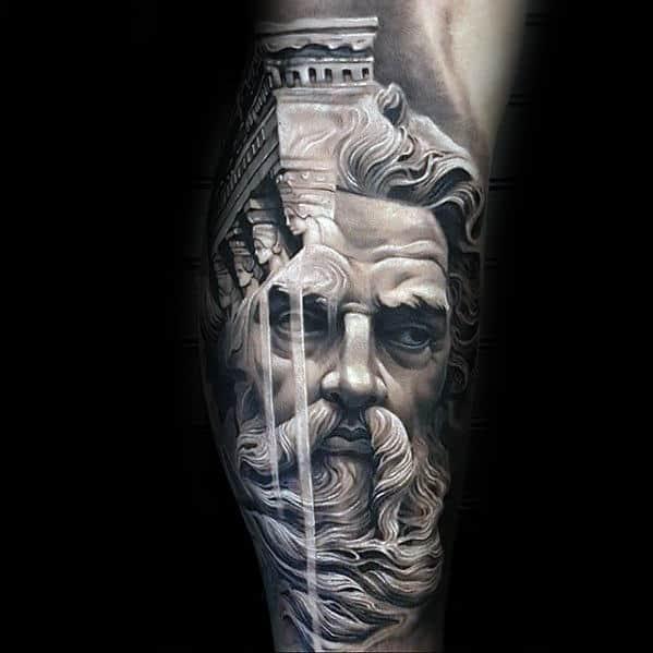 Greek God 3d Stone Mens Awesome Leg Sleeve Tattoo