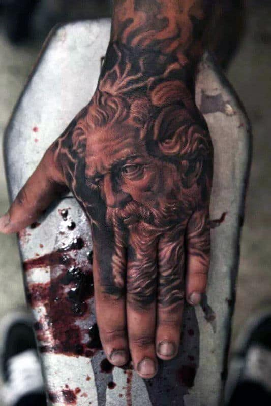 Greek God Apollo Men's Hand Tattoos