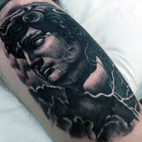 Greek God Awesome Mens Thigh Tattoo Design Ideas