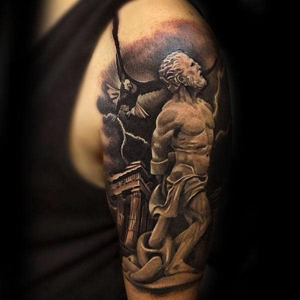 Greek God Crazy Guys Half Sleeve Tattoo Ideas