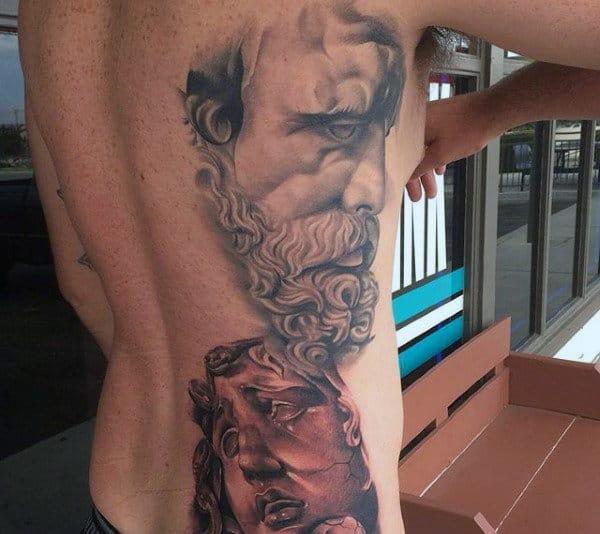 Greek God Faces Tatoos On Back For Men