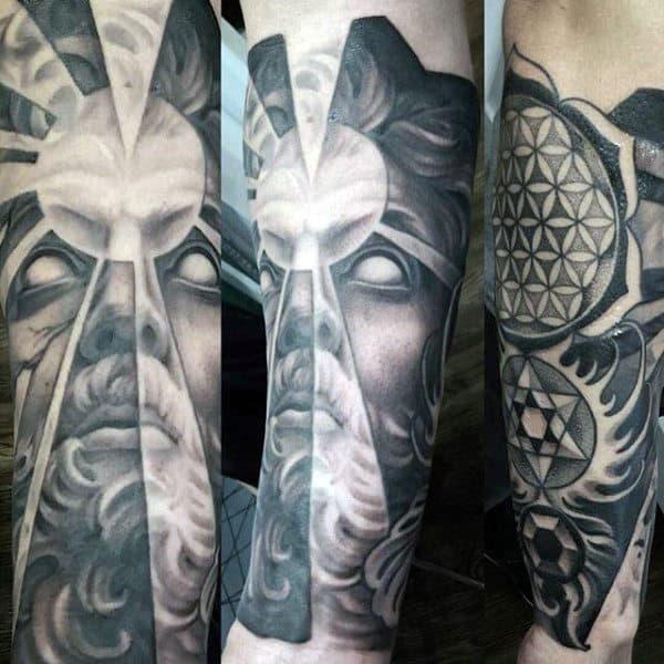 Greek God Flower Of Life Male Tattoo Forearm Sleeve