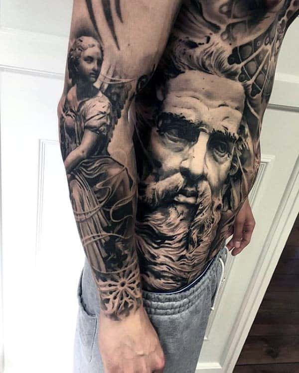 Greek God Guys Extreme Rib Cage Side Tattoo With Realistic Shaded Design