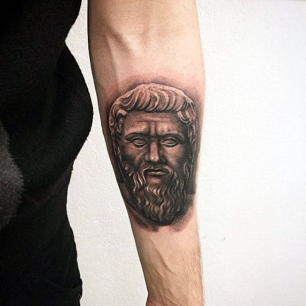 Greek God Head Small Male Badass Inner Forearm Tattoos
