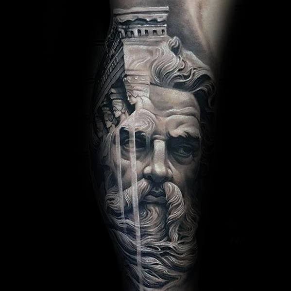 Greek God Leg 3d Realistic Morph Mens Tattoo Designs